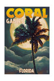 Coral Gables, Florida - Palms and Moon Prints by  Lantern Press