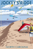 Jockey's Ridge Hang Gliders and Kite Flyers - Outer Banks, North Carolina Prints by  Lantern Press