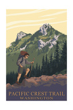 Pacific Crest Trail, Washington - Mountain Hiker Prints by  Lantern Press