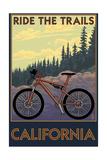 California - Mountain Bike Scene Posters van  Lantern Press