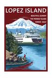 Lopez Island, Washington - Ferry and Boy Prints by  Lantern Press
