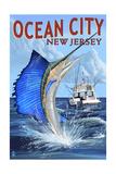 Ocean City, New Jersey - Sailfish Deep Sea Fishing Posters