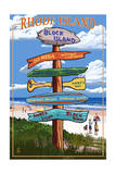 Block Island, Rhode Island - Sign Destinations Print by  Lantern Press