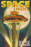Space Needle and Full Moon - Seattle, WA Poster by  Lantern Press