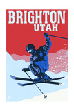 Brighton Resort, Utah - Colorblocked Skier Posters by  Lantern Press