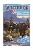 Winthrop, Washington - Cowboy Cattle Drive Scene Prints by  Lantern Press