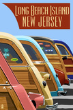 Long Beach Island, New Jersey - Woodies Lined Up Prints by  Lantern Press