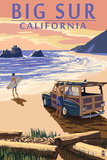 Big Sur, California - Woody on Beach Posters by  Lantern Press