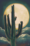 Cactus and Full Moon Posters by  Lantern Press