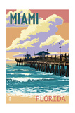 Miami, Florida - Fishing Pier and Sunset Prints by  Lantern Press