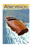 The Adirondacks - Wooden Boat on Lake Posters