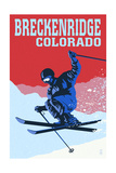 Breckenridge, Colorado - Colorblocked Skier Prints by  Lantern Press