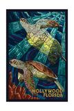 Hollywood, Florida - Sea Turtle Mosaic Posters van  Lantern Press