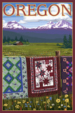 Oregon - Quilts on Fence Poster by  Lantern Press
