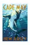 Cape May, New Jersey - Stylized Shark Posters by  Lantern Press