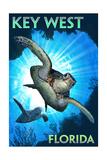 Key West, Florida - Sea Turtle Diving Posters van  Lantern Press