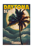 Daytona Beach, Florida - Palms and Moon Print