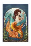 Mermaid (Orange Tail) Prints by  Lantern Press