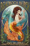 Rehoboth Beach, Delaware - Mermaid Prints
