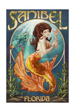 Sanibel, Florida - Mermaid Prints by  Lantern Press