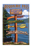 Snoqualmie Pass, Washington - Sign Destinations Prints by  Lantern Press