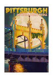 Pittsburgh, Pennsylvania - Smithfield St. Bridge and Moon Posters by  Lantern Press