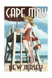Cape May, New Jersey - Lifeguard Pinup Girl Prints by  Lantern Press