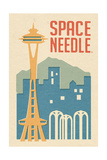 Seattle, Washington - Space Needle Woodblock Print by  Lantern Press