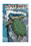 Outer Banks, North Carolina - Sea Turtles Woodblock Print Schilderij van  Lantern Press