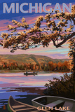 Glen Lake, Michigan - Lake Scene at Dusk Art by  Lantern Press