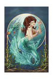 Mermaid (Blue Tail) Posters by  Lantern Press