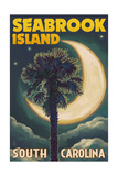 Seabrook Island, South Carolina - Palmetto Moon and Palm Print by  Lantern Press
