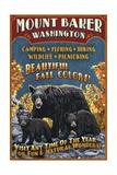 Mount Baker, Washington - Black Bears Vintage Sign Affiches par  Lantern Press