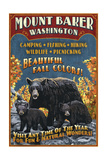 Mount Baker, Washington - Black Bears Vintage Sign Prints by  Lantern Press