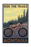 Montana - Ride the Trails Poster van  Lantern Press