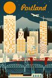 Portland, Oregon - Retro Skyline Reprodukcje autor Lantern Press