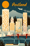 Portland, Oregon - Retro Skyline Prints by  Lantern Press