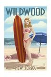 Wildwood, New Jersey - Surfing Pinup Girl Prints by  Lantern Press