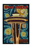 Space Needle Mosaic - Seattle, WA Prints by  Lantern Press