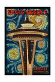 Space Needle Mosaic - Seattle, WA Prints by  Lantern Press