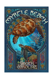 Myrtle Beach, South Carolina - Sea Turtle Art Nouveau Print van  Lantern Press