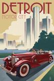 Lantern Press - Detroit, Michigan - Vintage Car and Skyline Obrazy