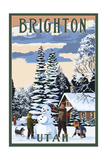 Brighton Resort, Utah - Snowman Scene Art by  Lantern Press