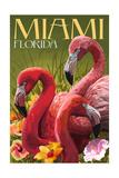 Miami, Florida - Flamingos Prints by  Lantern Press