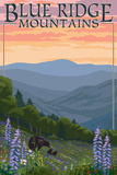 Blue Ridge Mountains - Bear Family and Spring Flowers Prints by  Lantern Press