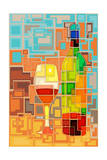 Wine Bottle and Glass Geometric Prints by  Lantern Press
