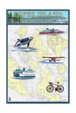 Lopez Island, Washington - Nautical Chart Print by  Lantern Press