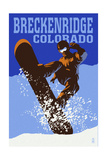 Breckenridge, Colorado - Colorblocked Snowboarder Posters by  Lantern Press