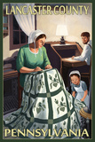 Lancaster County, Pennsylvania - Amish Quilting Scene Posters by  Lantern Press