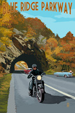 Blue Ridge Parkway - Motorcycle Scene Prints by  Lantern Press